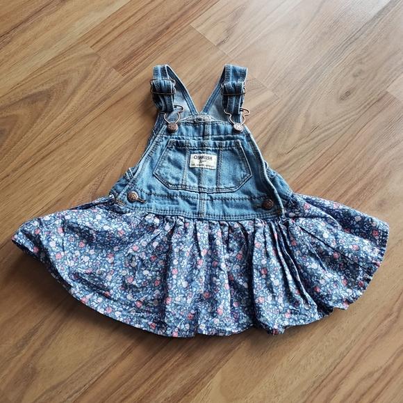 Oshkosh | Jean overall floral dress - size 6/9M